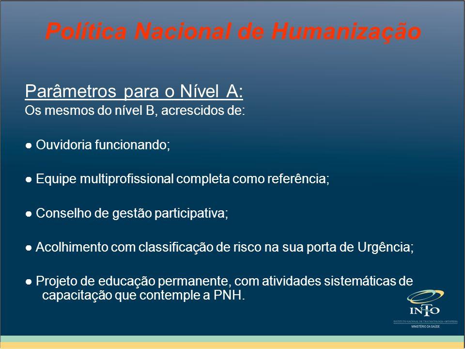 Política Nacional de Humanização Parâmetros para o Nível A: Os mesmos do nível B, acrescidos de: Ouvidoria funcionando; Equipe multiprofissional compl