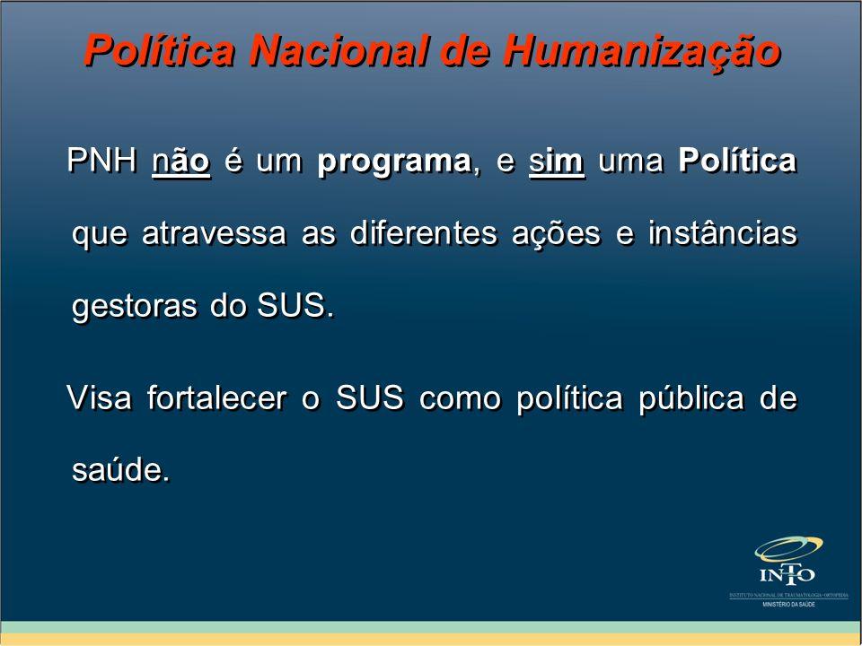 PNH não é um programa, e sim uma Política que atravessa as diferentes ações e instâncias gestoras do SUS. Visa fortalecer o SUS como política pública