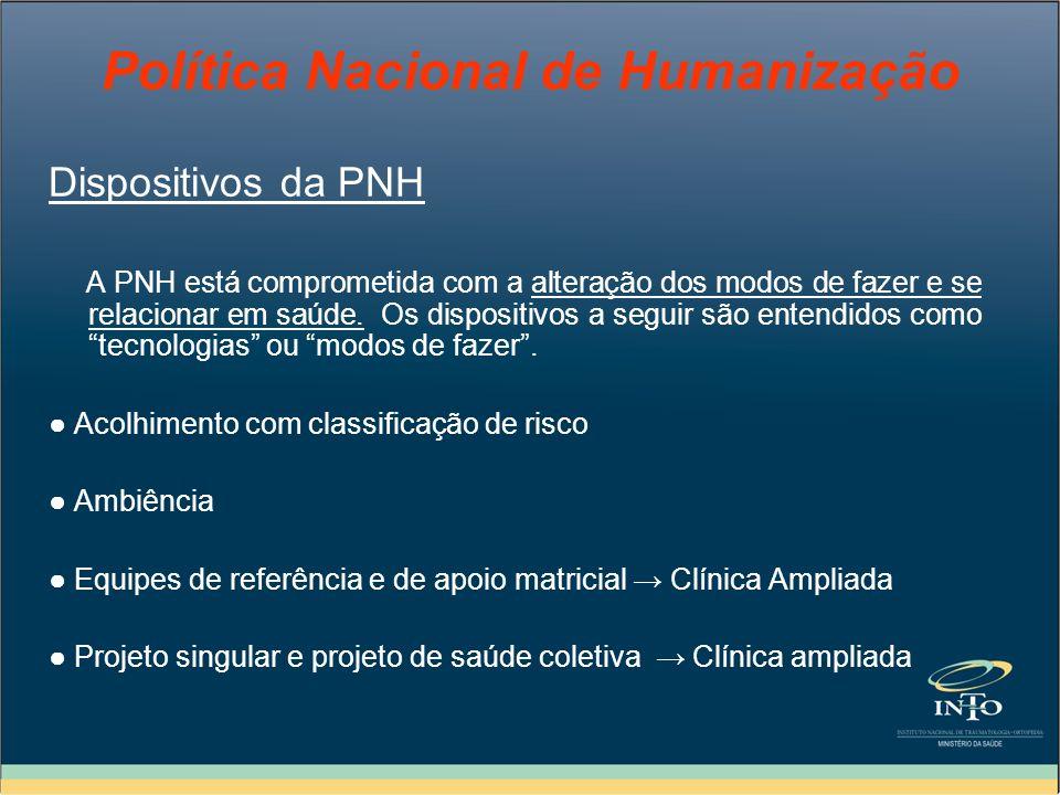 Política Nacional de Humanização Dispositivos da PNH A PNH está comprometida com a alteração dos modos de fazer e se relacionar em saúde. Os dispositi