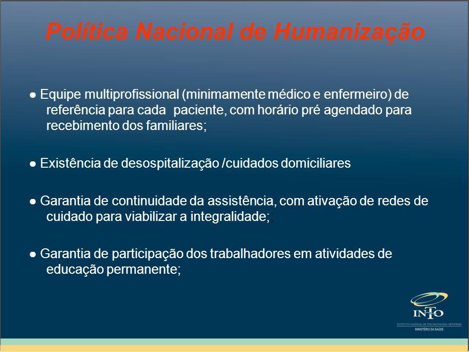 Política Nacional de Humanização Equipe multiprofissional (minimamente médico e enfermeiro) de referência para cada paciente, com horário pré agendado