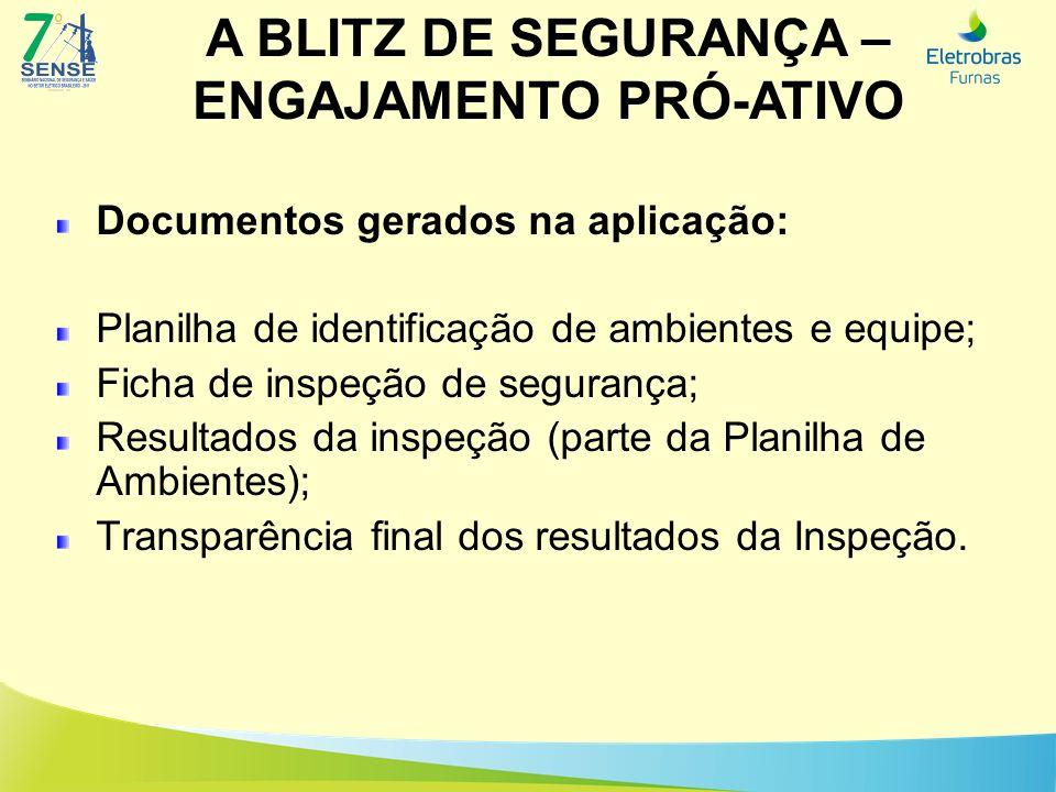 A BLITZ DE SEGURANÇA – ENGAJAMENTO PRÓ-ATIVO Documentos gerados na aplicação: Planilha de identificação de ambientes e equipe; Ficha de inspeção de se