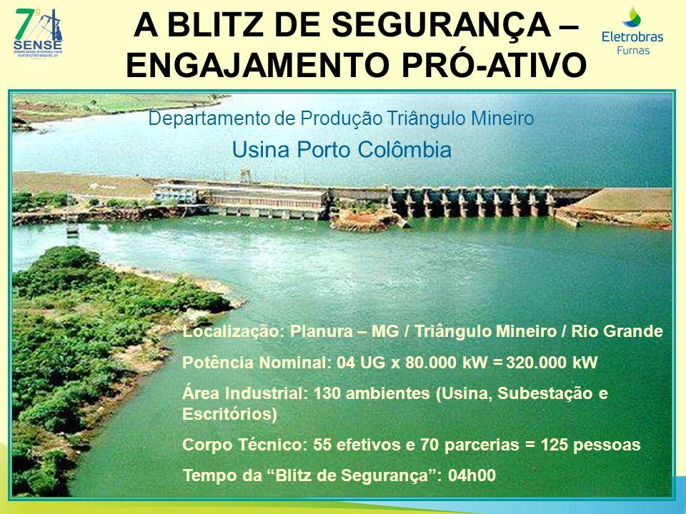 A BLITZ DE SEGURANÇA – ENGAJAMENTO PRÓ-ATIVO Localização: Planura – MG / Triângulo Mineiro / Rio Grande Potência Nominal: 04 UG x 80.000 kW = 320.000