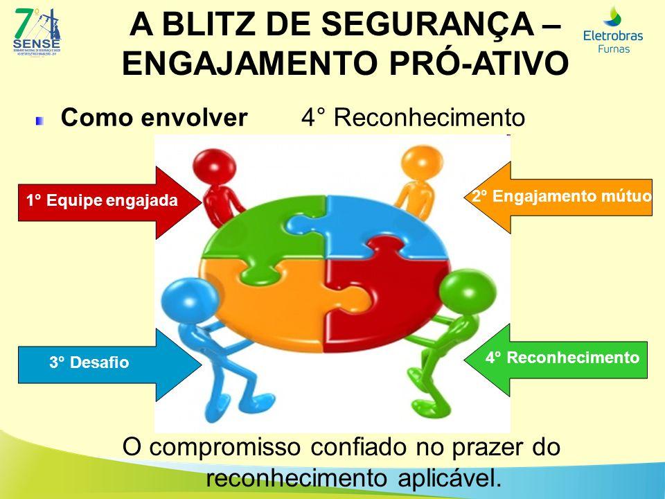 A BLITZ DE SEGURANÇA – ENGAJAMENTO PRÓ-ATIVO Como envolver 4° Reconhecimento O compromisso confiado no prazer do reconhecimento aplicável. Sugestão im