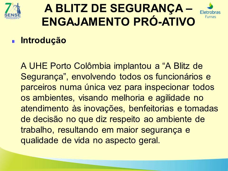 A BLITZ DE SEGURANÇA – ENGAJAMENTO PRÓ-ATIVO Introdução A UHE Porto Colômbia implantou a A Blitz de Segurança, envolvendo todos os funcionários e parc