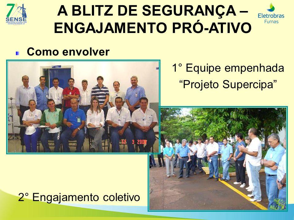 A BLITZ DE SEGURANÇA – ENGAJAMENTO PRÓ-ATIVO Como envolver 1° Equipe empenhada Projeto Supercipa 2° Engajamento coletivo