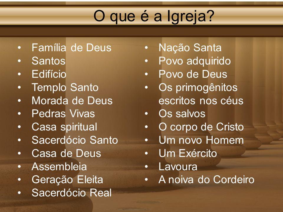 O que é a Igreja? Nação Santa Povo adquirido Povo de Deus Os primogênitos escritos nos céus Os salvos O corpo de Cristo Um novo Homem Um Exército Lavo