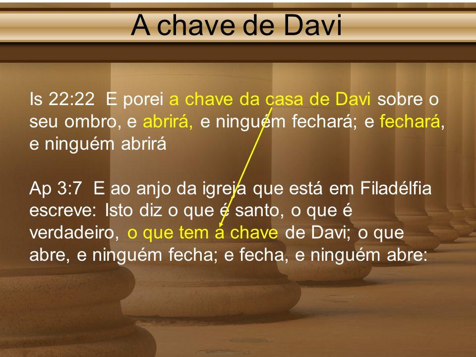 A chave de Davi Is 22:22 E porei a chave da casa de Davi sobre o seu ombro, e abrirá, e ninguém fechará; e fechará, e ninguém abrirá Ap 3:7 E ao anjo