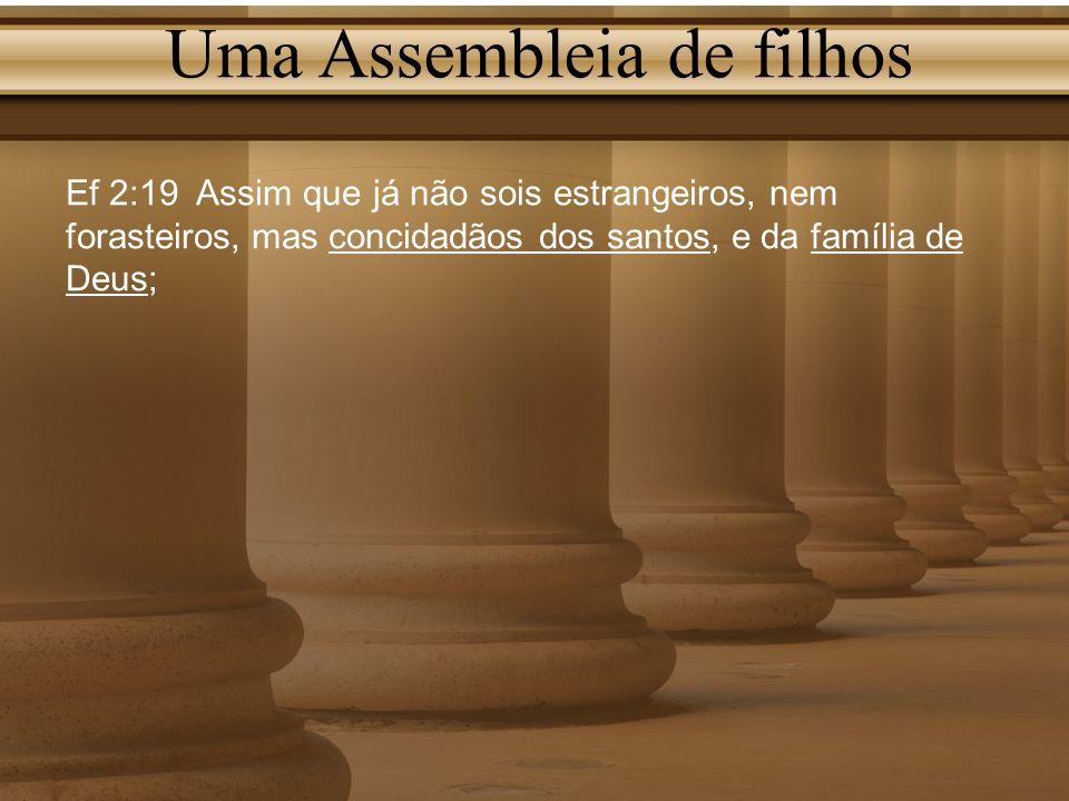 Uma Assembleia de filhos Ef 2:19 Assim que já não sois estrangeiros, nem forasteiros, mas concidadãos dos santos, e da família de Deus;