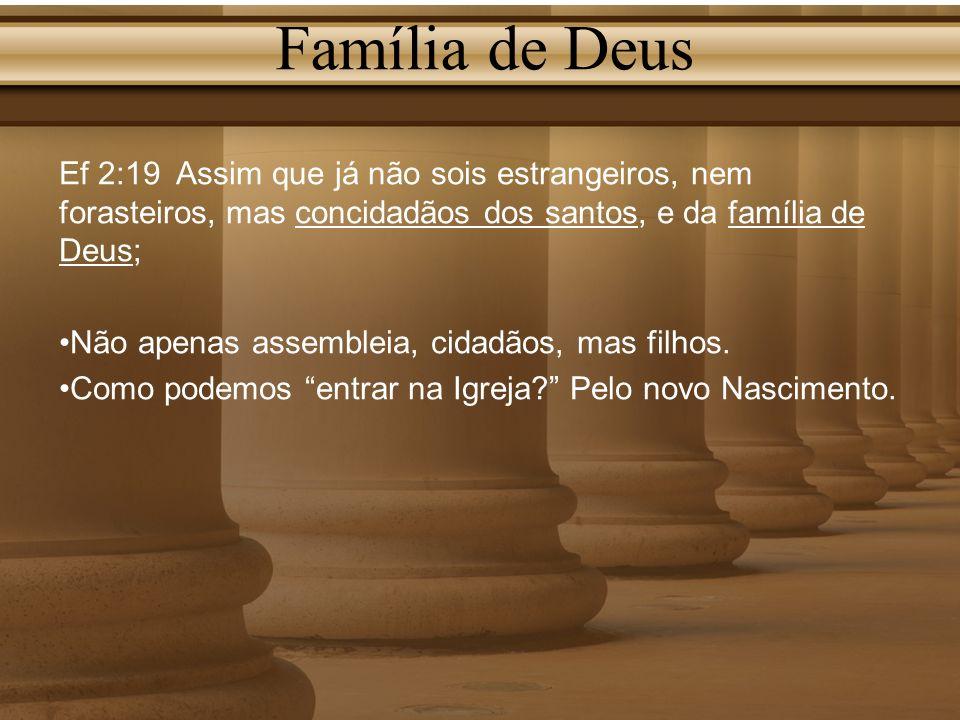 Família de Deus Ef 2:19 Assim que já não sois estrangeiros, nem forasteiros, mas concidadãos dos santos, e da família de Deus; Não apenas assembleia,