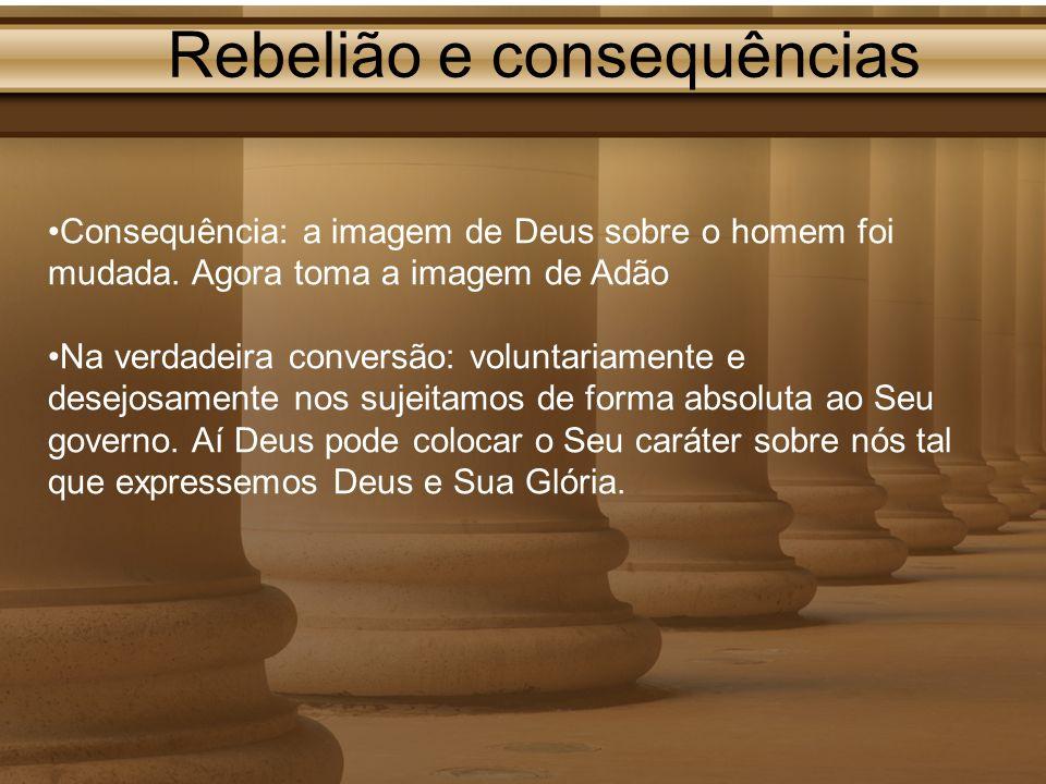 Rebelião e consequências Consequência: a imagem de Deus sobre o homem foi mudada. Agora toma a imagem de Adão Na verdadeira conversão: voluntariamente