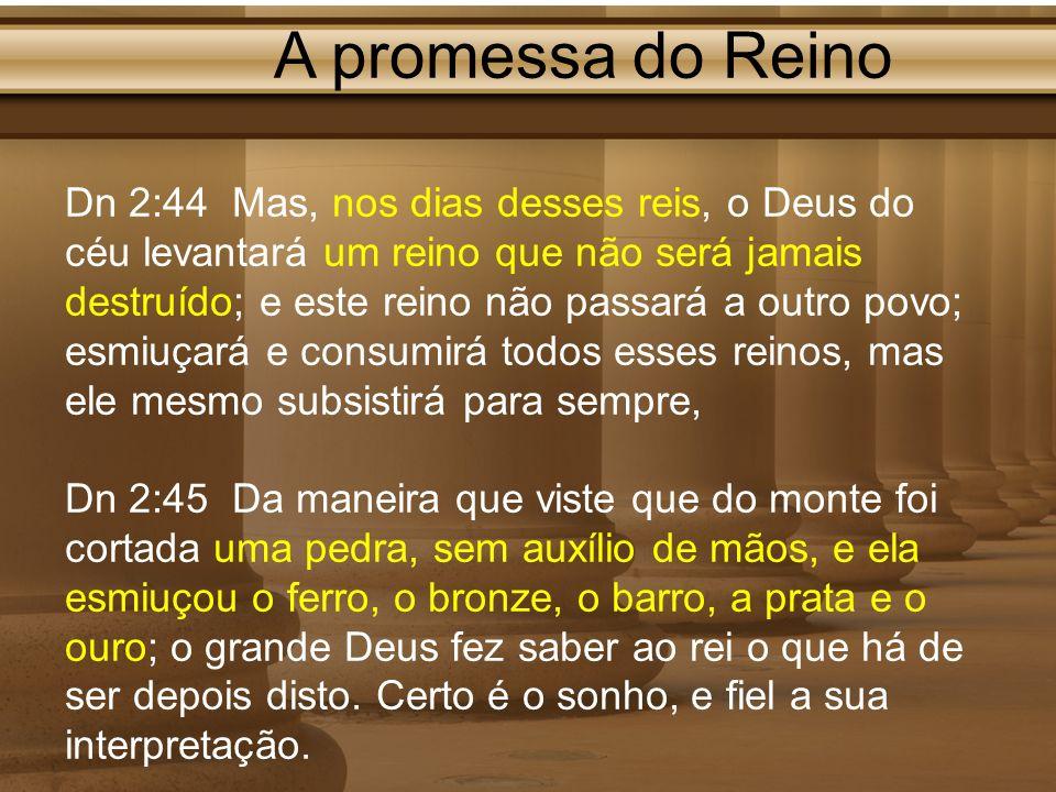 A promessa do Reino Dn 2:44 Mas, nos dias desses reis, o Deus do céu levantará um reino que não será jamais destruído; e este reino não passará a outr
