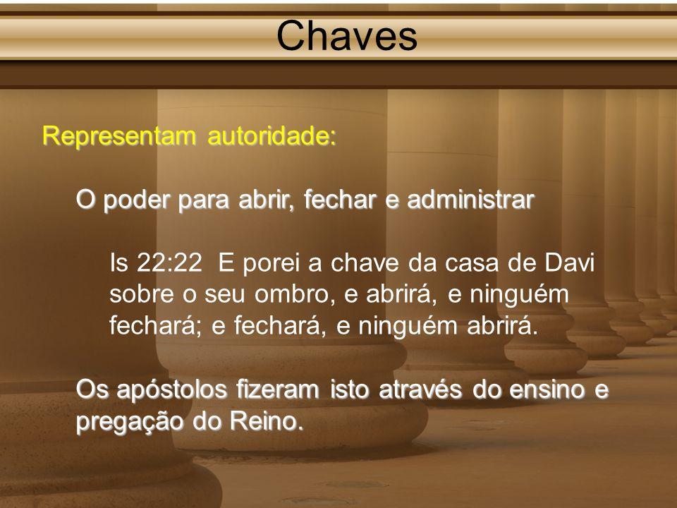 Chaves Representam autoridade: O poder para abrir, fechar e administrar Is 22:22 E porei a chave da casa de Davi sobre o seu ombro, e abrirá, e ningué