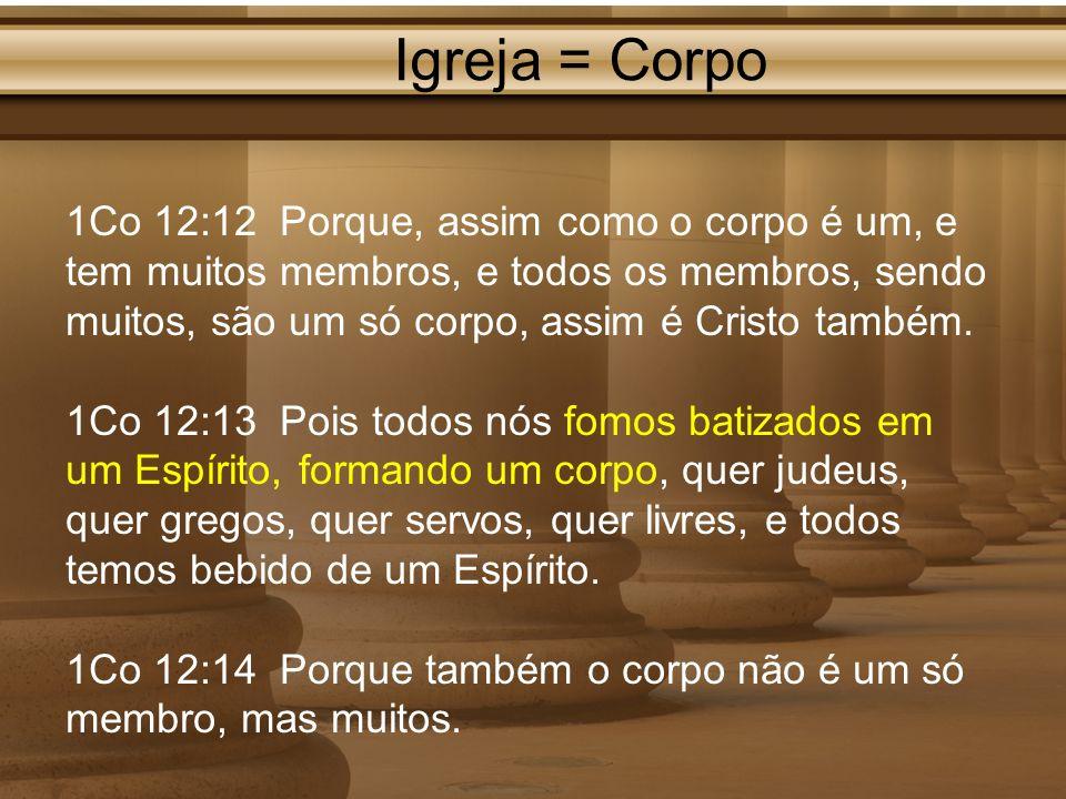 Igreja = Corpo 1Co 12:12 Porque, assim como o corpo é um, e tem muitos membros, e todos os membros, sendo muitos, são um só corpo, assim é Cristo tamb