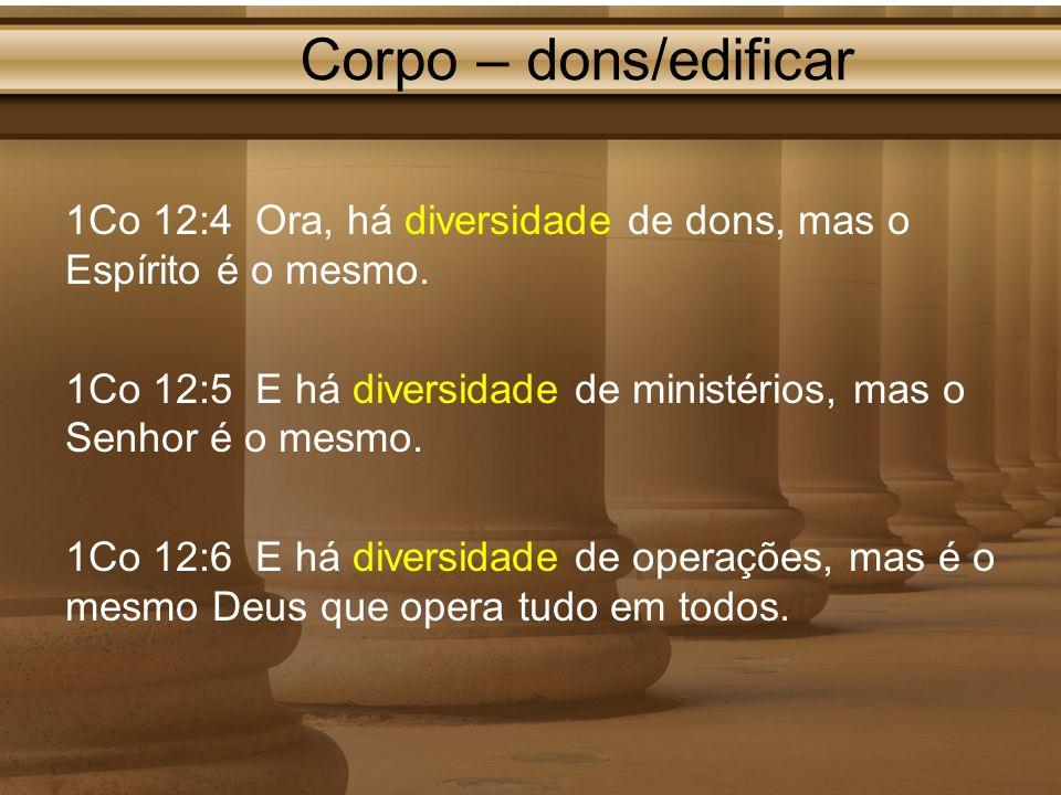 Corpo – dons/edificar 1Co 12:4 Ora, há diversidade de dons, mas o Espírito é o mesmo. 1Co 12:5 E há diversidade de ministérios, mas o Senhor é o mesmo