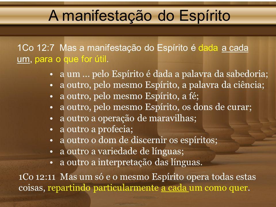 A manifestação do Espírito 1Co 12:7 Mas a manifestação do Espírito é dada a cada um, para o que for útil. a um... pelo Espírito é dada a palavra da sa