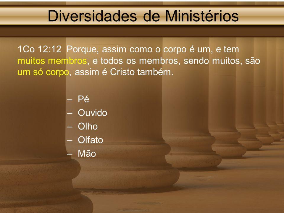 Diversidades de Ministérios 1Co 12:12 Porque, assim como o corpo é um, e tem muitos membros, e todos os membros, sendo muitos, são um só corpo, assim
