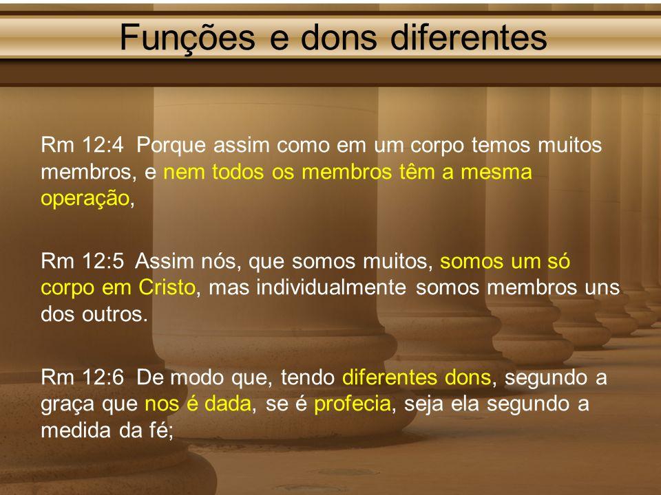 Funções e dons diferentes Rm 12:4 Porque assim como em um corpo temos muitos membros, e nem todos os membros têm a mesma operação, Rm 12:5 Assim nós,