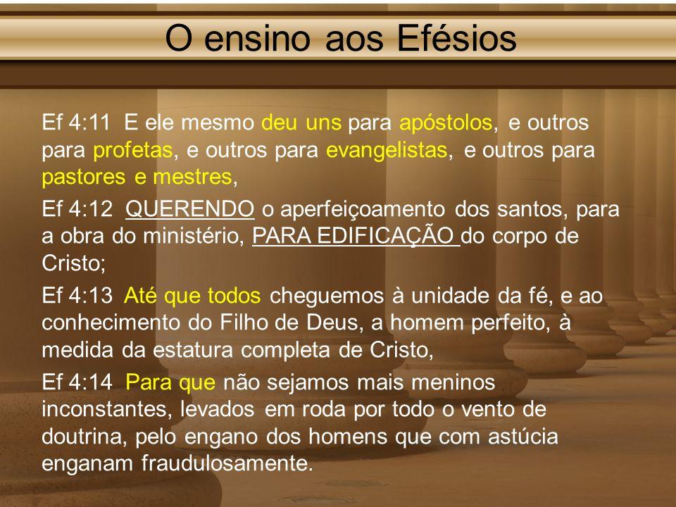 O ensino aos Efésios Ef 4:11 E ele mesmo deu uns para apóstolos, e outros para profetas, e outros para evangelistas, e outros para pastores e mestres,