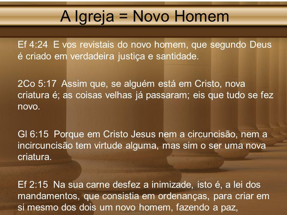 A Igreja = Novo Homem Ef 4:24 E vos revistais do novo homem, que segundo Deus é criado em verdadeira justiça e santidade. 2Co 5:17 Assim que, se algué