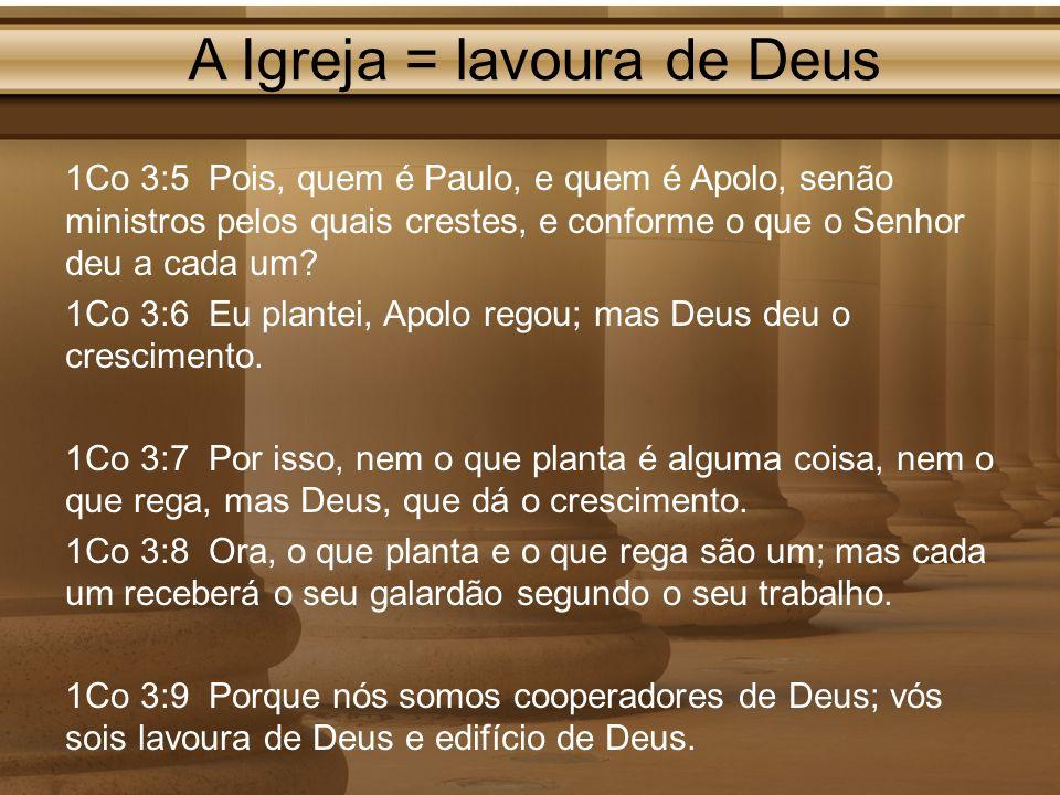A Igreja = lavoura de Deus 1Co 3:5 Pois, quem é Paulo, e quem é Apolo, senão ministros pelos quais crestes, e conforme o que o Senhor deu a cada um? 1