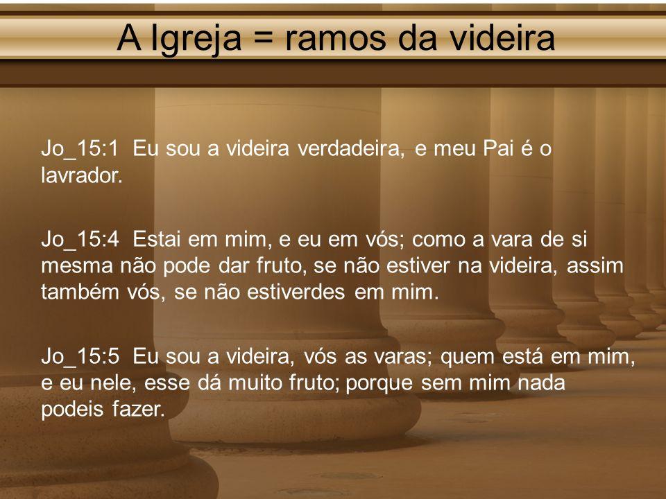A Igreja = ramos da videira Jo_15:1 Eu sou a videira verdadeira, e meu Pai é o lavrador. Jo_15:4 Estai em mim, e eu em vós; como a vara de si mesma nã