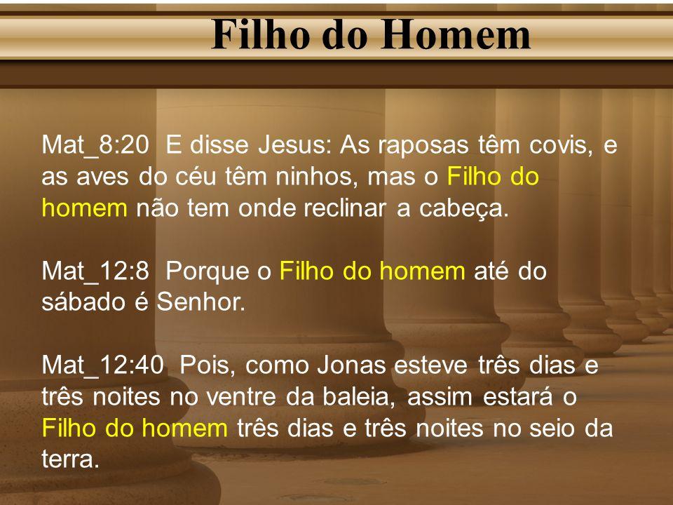 Filho do Homem Mat_8:20 E disse Jesus: As raposas têm covis, e as aves do céu têm ninhos, mas o Filho do homem não tem onde reclinar a cabeça. Mat_12: