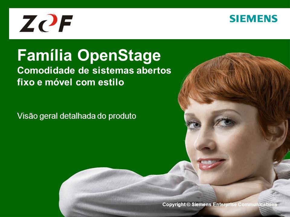 Copyright © Siemens Enterprise Communications 2007. Todos os direitos reservados. Família OpenStage Comodidade de sistemas abertos fixo e móvel com es
