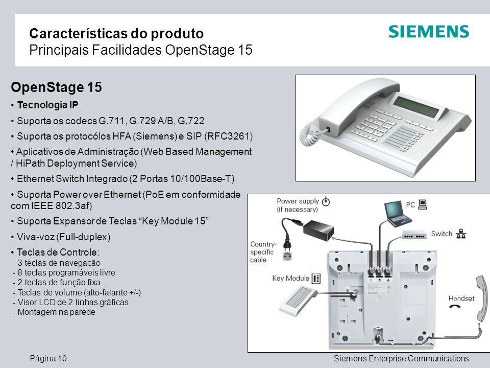 Página 10Siemens Enterprise Communications Características do produto Principais Facilidades OpenStage 15 OpenStage 15 Tecnologia IP Suporta os codecs