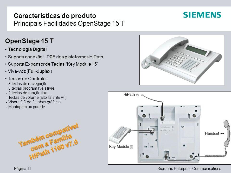 Página 11Siemens Enterprise Communications Características do produto Principais Facilidades OpenStage 15 T OpenStage 15 T Tecnologia Digital Suporta