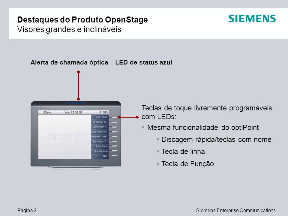 Página 2Siemens Enterprise Communications Destaques do Produto OpenStage Visores grandes e inclináveis Teclas de toque livremente programáveis com LED