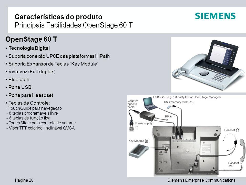 Página 20Siemens Enterprise Communications Características do produto Principais Facilidades OpenStage 60 T OpenStage 60 T Tecnologia Digital Suporta
