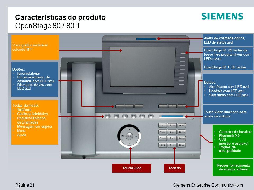 Página 21Siemens Enterprise Communications Características do produto OpenStage 80 / 80 T Visor gráfico inclinável colorido TFT Teclas de modo: Telefo