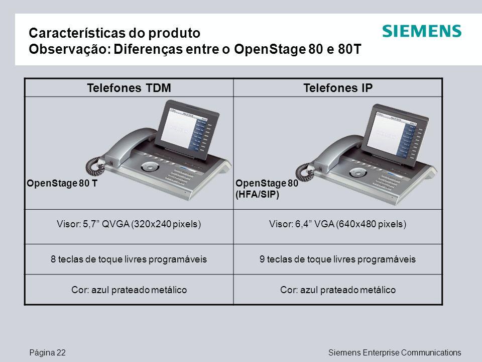 Página 22Siemens Enterprise Communications Características do produto Observação: Diferenças entre o OpenStage 80 e 80T Telefones TDMTelefones IP Open