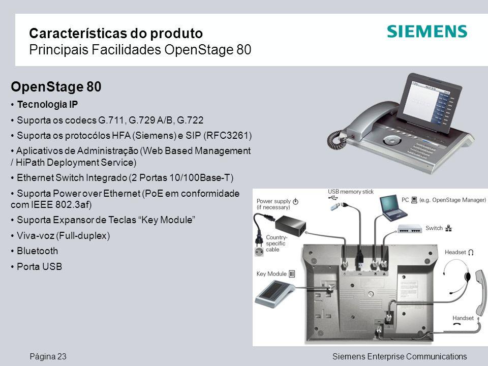 Página 23Siemens Enterprise Communications Características do produto Principais Facilidades OpenStage 80 OpenStage 80 Tecnologia IP Suporta os codecs