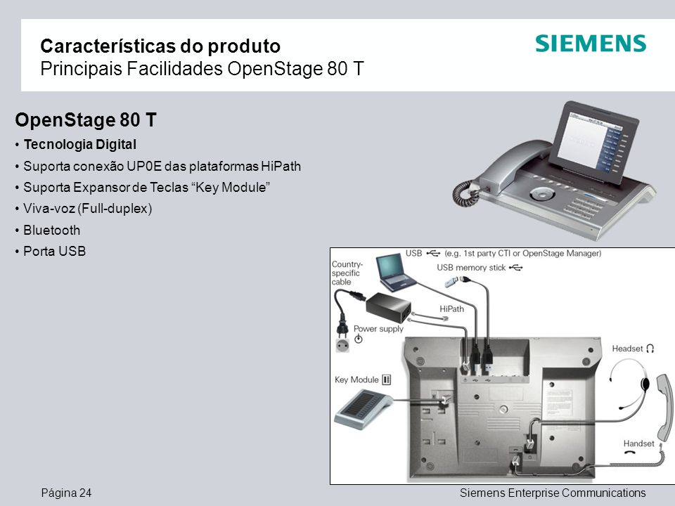 Página 24Siemens Enterprise Communications Características do produto Principais Facilidades OpenStage 80 T OpenStage 80 T Tecnologia Digital Suporta