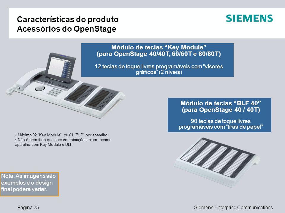 Página 25Siemens Enterprise Communications Características do produto Acessórios do OpenStage Módulo de teclas Key Module (para OpenStage 40/40T, 60/6