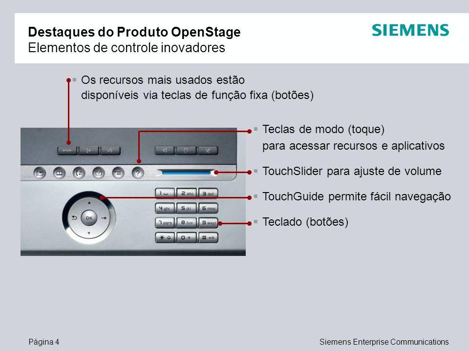 Página 4Siemens Enterprise Communications Destaques do Produto OpenStage Elementos de controle inovadores Os recursos mais usados estão disponíveis vi