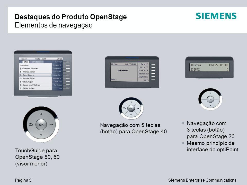Página 5Siemens Enterprise Communications Destaques do Produto OpenStage Elementos de navegação TouchGuide para OpenStage 80, 60 (visor menor) Navegaç