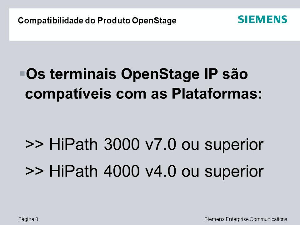 Página 8Siemens Enterprise Communications Os terminais OpenStage IP são compatíveis com as Plataformas: >> HiPath 3000 v7.0 ou superior >> HiPath 4000