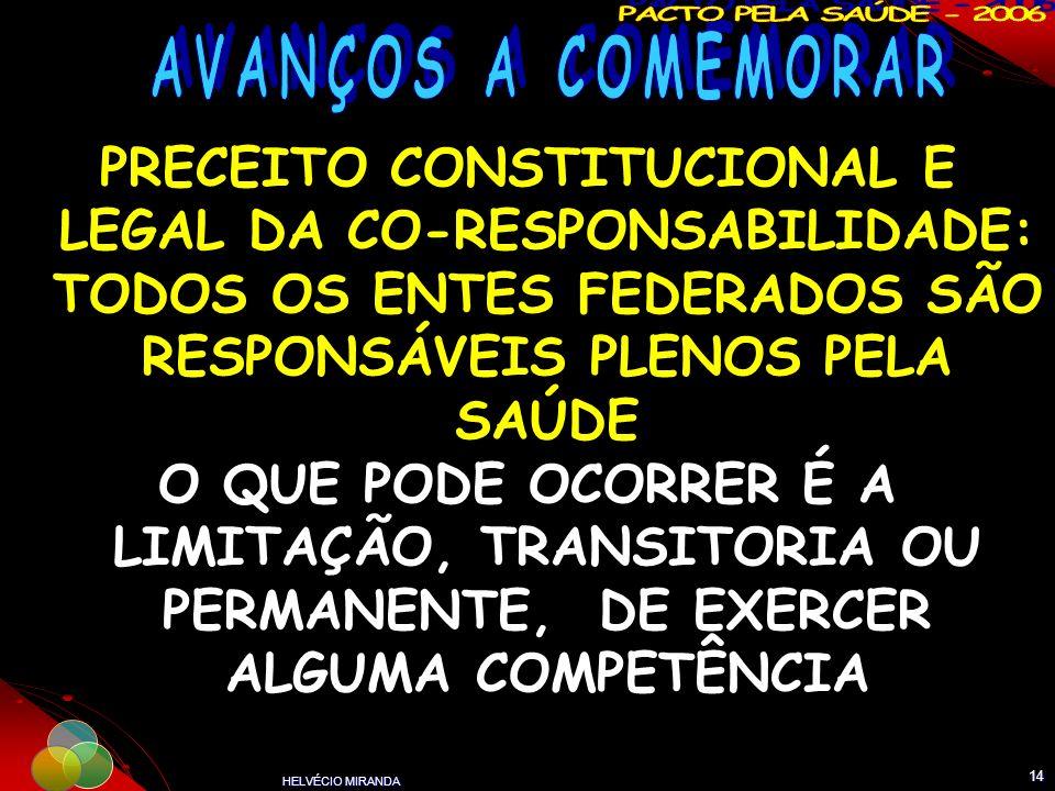 HELVÉCIO MIRANDA 14 PRECEITO CONSTITUCIONAL E LEGAL DA CO-RESPONSABILIDADE: TODOS OS ENTES FEDERADOS SÃO RESPONSÁVEIS PLENOS PELA SAÚDE O QUE PODE OCO