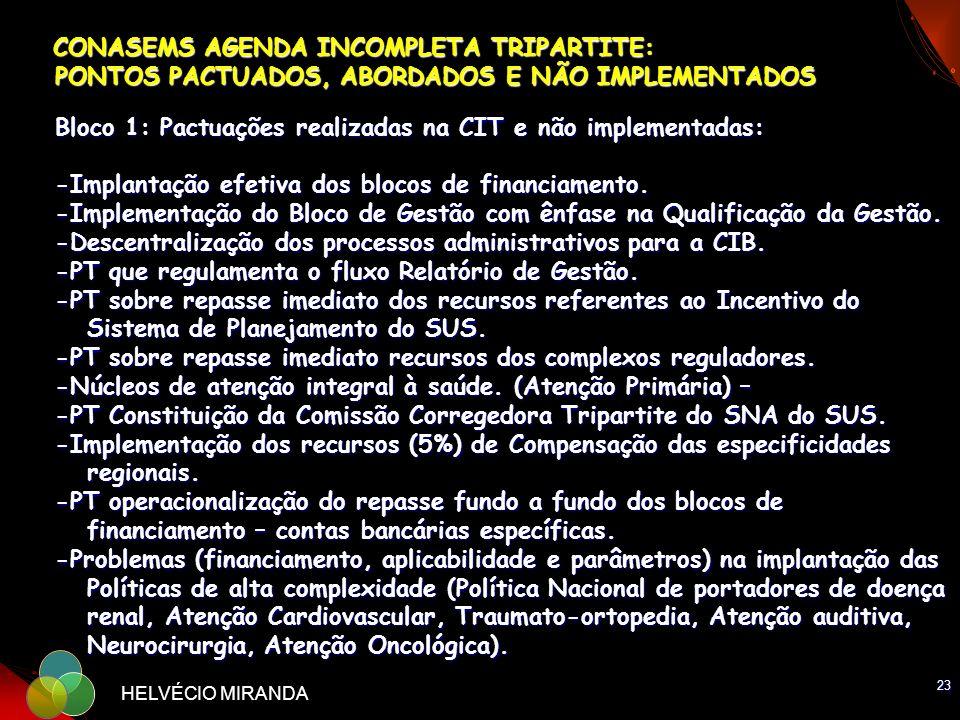 23 HELVÉCIO MIRANDA CONASEMS AGENDA INCOMPLETA TRIPARTITE: PONTOS PACTUADOS, ABORDADOS E NÃO IMPLEMENTADOS Bloco 1: Pactuações realizadas na CIT e não