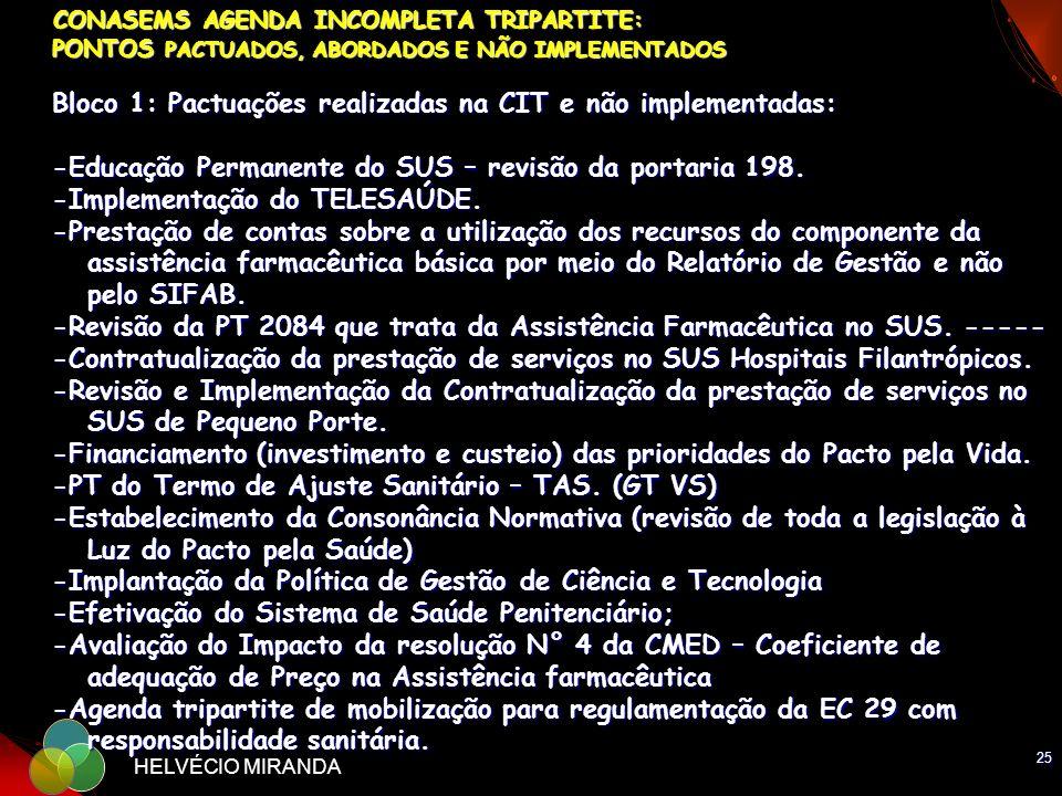 25 HELVÉCIO MIRANDA CONASEMS AGENDA INCOMPLETA TRIPARTITE: PONTOS PACTUADOS, ABORDADOS E NÃO IMPLEMENTADOS Bloco 1: Pactuações realizadas na CIT e não
