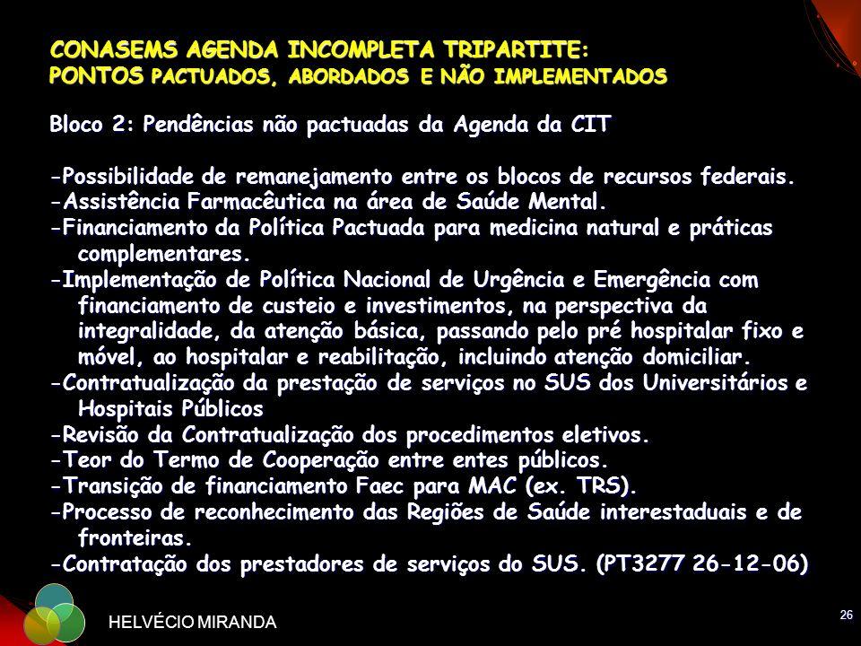 26 HELVÉCIO MIRANDA CONASEMS AGENDA INCOMPLETA TRIPARTITE: PONTOS PACTUADOS, ABORDADOS E NÃO IMPLEMENTADOS Bloco 2: Pendências não pactuadas da Agenda