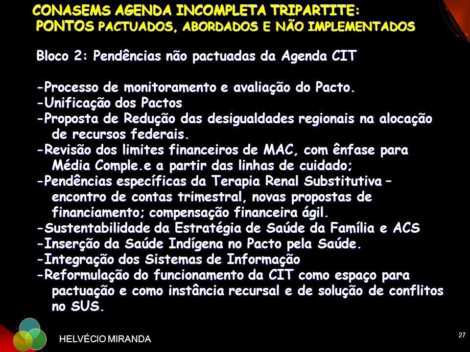 27 HELVÉCIO MIRANDA CONASEMS AGENDA INCOMPLETA TRIPARTITE: PONTOS PACTUADOS, ABORDADOS E NÃO IMPLEMENTADOS Bloco 2: Pendências não pactuadas da Agenda