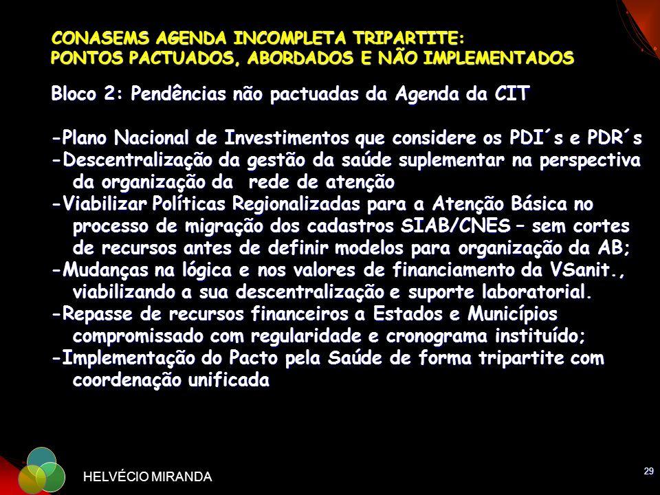 29 HELVÉCIO MIRANDA CONASEMS AGENDA INCOMPLETA TRIPARTITE: PONTOS PACTUADOS, ABORDADOS E NÃO IMPLEMENTADOS Bloco 2: Pendências não pactuadas da Agenda