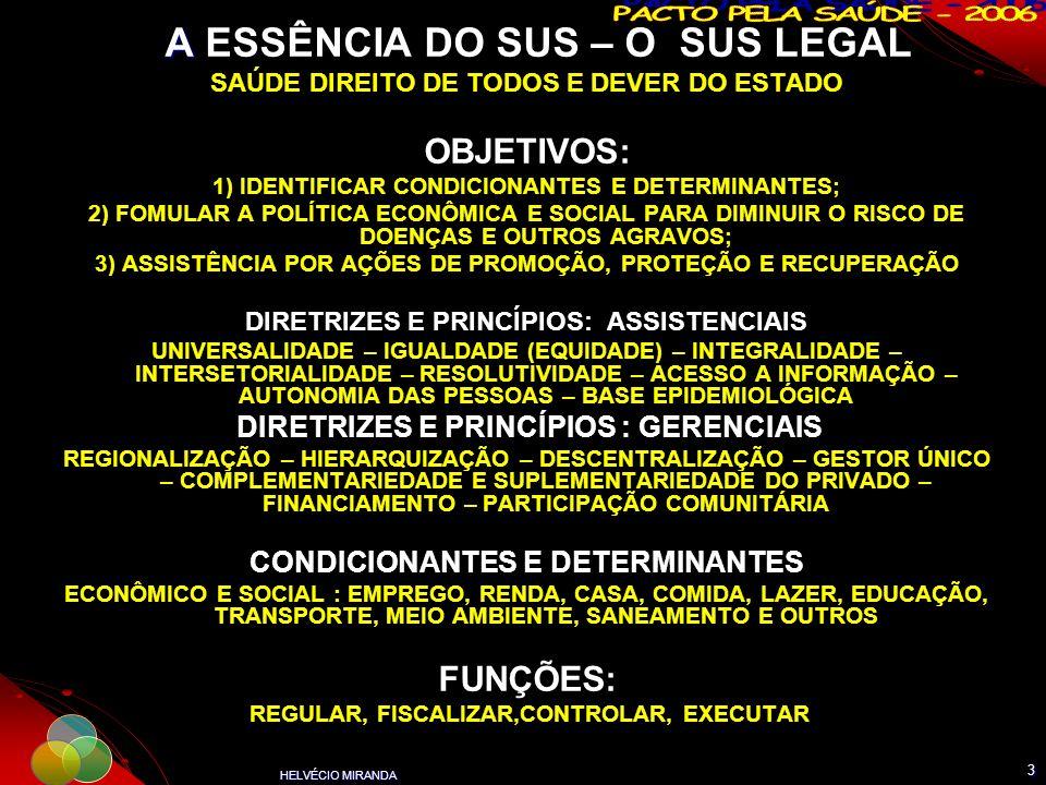 HELVÉCIO MIRANDA 3 A A ESSÊNCIA DO SUS – O SUS LEGAL SAÚDE DIREITO DE TODOS E DEVER DO ESTADO OBJETIVOS: 1) IDENTIFICAR CONDICIONANTES E DETERMINANTES