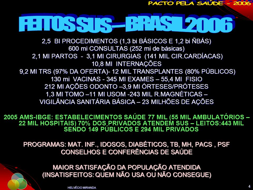 HELVÉCIO MIRANDA 4 2,5 BI PROCEDIMENTOS (1,3 bi BÁSICOS E 1,2 bi ÑBÁS) 600 mi CONSULTAS (252 mi de básicas) 2,1 MI PARTOS - 3,1 MI CIRURGIAS (141 MIL