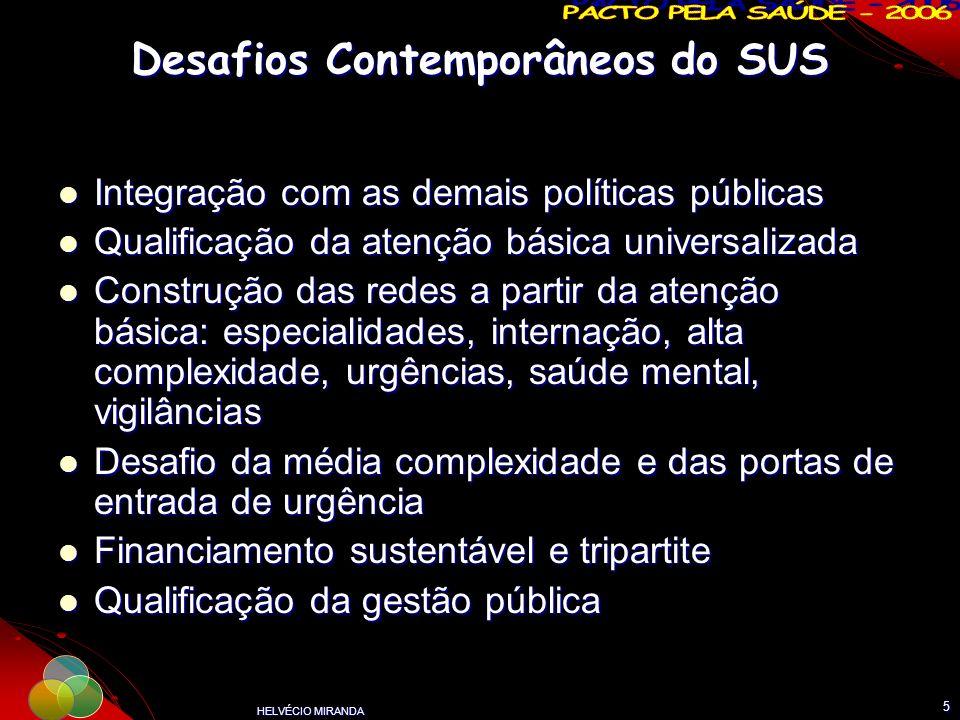 HELVÉCIO MIRANDA 5 Desafios Contemporâneos do SUS Integração com as demais políticas públicas Integração com as demais políticas públicas Qualificação