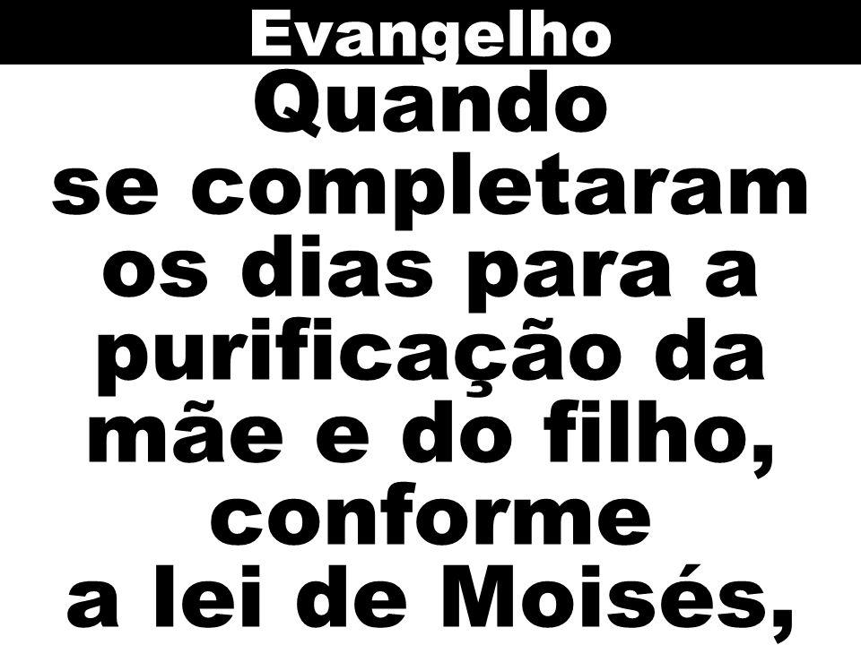 Quando se completaram os dias para a purificação da mãe e do filho, conforme a lei de Moisés, Evangelho