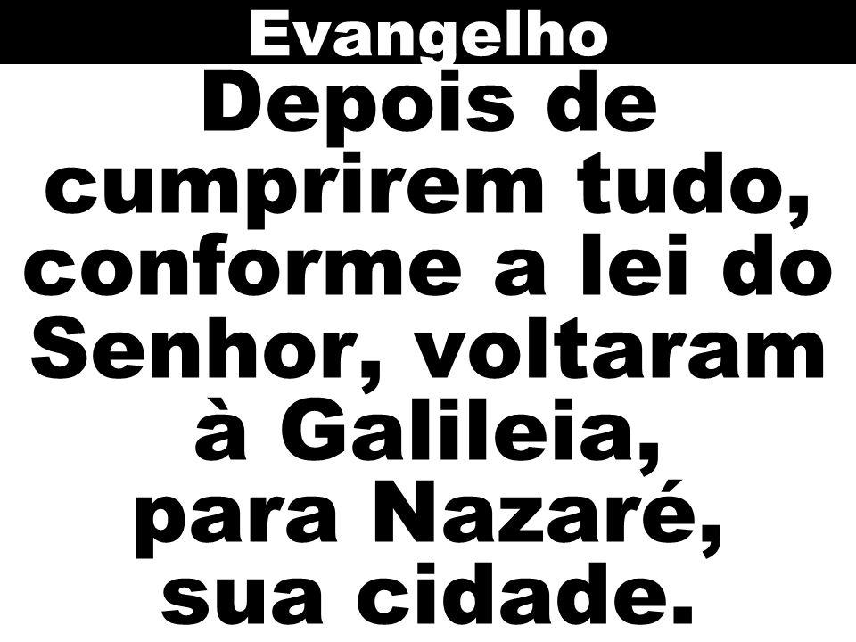 Depois de cumprirem tudo, conforme a lei do Senhor, voltaram à Galileia, para Nazaré, sua cidade. Evangelho